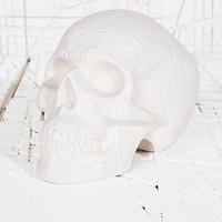 Carved Skull Money Bank in White - Urban Outfitters
