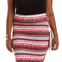 Plus Size Coral Tribal Print Bodycon Mini Skirt by Charlotte Russe