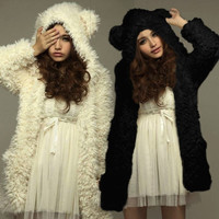 Fashion Women Girls Noble Fall Winter Warm Jacket Hooded Furry Coat Outwear = 1932069892