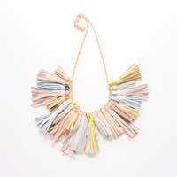 CHARMER 5/ Leather tassel statement necklace - Ready to Ship-OOAK