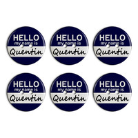 Quentin Hello My Name Is Plastic Resin Button Set of 6
