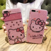 For iPhone 7 plus kitty Case soft tpu bling hello kitty Cover for iPhone X case for iphone 8 plus 6s pink phone fundas lover