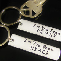 LONG DISTANCE LOVE Key Chains Keychain Love you from State to State for long distance Military Work Couple Living Apart