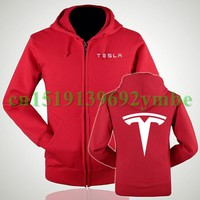 2 styles Tesla NEW Women and Men Hooded Jacket Zipper Hoodie Fleece Sweatshirts