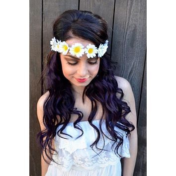 White Daisy Headband #C1007