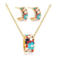 Fashion rhinestone bridal wedding jewellery sets for women rainbow earrings necklace beads jewelry set for party