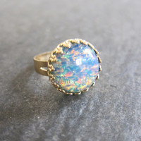 Fire Opal Ring Blue Opal Gold Ring LOTR Arwen Style Lord of the Rings Inspired Statement Ring Preppy Geekery Fantasy Fairy Tale Elf Ring