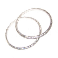 Silver Bracelets - Crystal Rhinestone Accents - Formal / Special Occasion / Thick Lightly Hammered