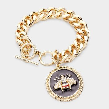 PEARL HONEY BEE ACCENTED ROUND CHARM TOGGLE BRACELET