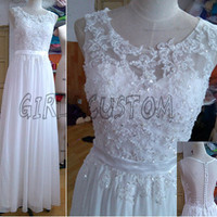 Lace applique / beaded /scoop/ sleeveless / white chiffon/see through/backless/sexy/handmade /long /prom dress /evening dress