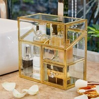 PuTwo Makeup Organiser Glass Vintage Cosmetic Organiser Handmade Brass Trim Vanity Storage Transparent Cotton Pads Organiser Dustproof Makeup Brush Holder with FREE White Pearls Decoration for Dresser Vanity Countertop – Gold