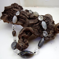 Botswana agate rock crystal statement necklace Big bold chunky contemporary jewelry Semi precious stone Avant garde jewelry ALFAdesigns