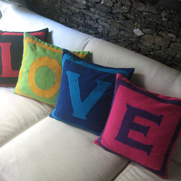 Love Pillows - Set of 4 pillow covers that spell LOVE - Multicolored