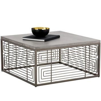 CORDEN GREY STAINLESS STEEL ANTIQUE BRASS COFFEE TABLE