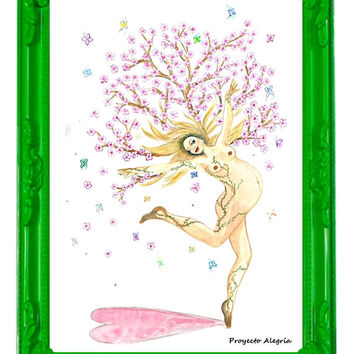 "Original illustration 12"" x 16"". Naked Life. Woman in Blossom"