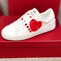 Valentino Popular Women Men Casual Leather Red Heart Sneakers Sport Shoes