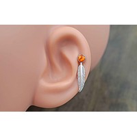 Orange Opal 16 Gauge Cartilage Earring (8mm Post) Tragus Monroe Helix Piercing You Choose Stone Size