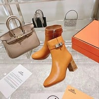 HERMES2021  Trending Women's men Leather Side Zip Lace-up Ankle Boots Shoes High Boots09020wk