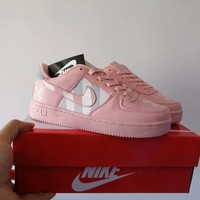 """Nike Air Force 1 "" Women Casual Fashion Multicolor Stripe Plate Shoes Sneakers"