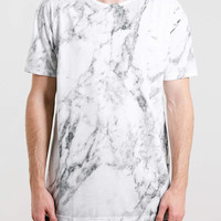 GREY MARBLE PRINT T-SHIRT - Clearance- TOPMAN USA