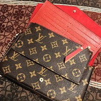 LV Louis Vuitton Fashionable Women Retro Leather Handbag Tote Shoulder Bag Satchel Three-Piece