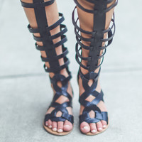 Faux Leather Gladiator Sandals in Black