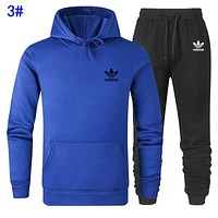 Adidas Autumn Winter Popular Men Women Casual Print Top Pants Two Piece Sport Set 3#