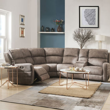 Acme 54590 6 pc Olwen mocha nubuck fabric sectional sofa with recliners and drink console