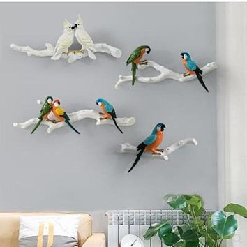 Colorful 3D Wall Hanging Resin Bird Statue