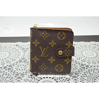 Authentic Louis Vuitton Wallet Compact Zip M61668 Browns Monogram 196045