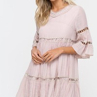 Babydoll Boho Dress - Champagne