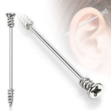 """Screw Industrial Barbell 14ga Surgical Stainless Steel 1 3/8"""" 35mm"""