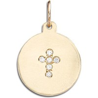 Cross Disk Charm Pavé Diamonds