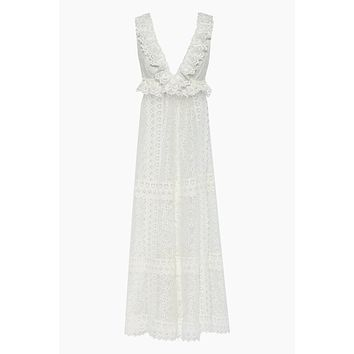 Chic Escape Sheer Lace Maxi Dress - Ivory White