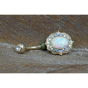Opal and Aurora Borealis Crystal Gold Belly Button Ring