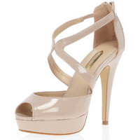 Nude cross-strap high sandals