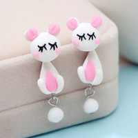 cute shy pink/red cat stud earrings handmade polymer clay girl earrings 925 silver pin not stimulate brincos jewelry