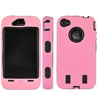 Pink Rugged Hard Dual Layer Case for Apple iPhone 4