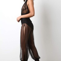 Semi-Sheer Mesh Halter Jumpsuit