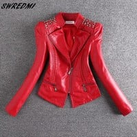 SWREDMI 2018 New Fashion Red Motorcycle Leather Jacket Women Rivet Zippers Biker Leather Coat Plus Size S-3XL Suede Outerwear