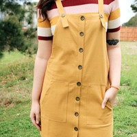 Front Pocket Overall Dress