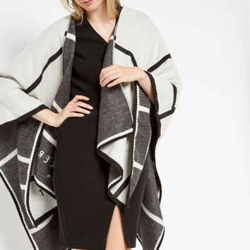 Checked scarf cape - Black | Scarves | Ted Baker ROW