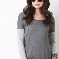 Contrast Quilted Sleeve Sweater | UrbanOG