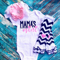 Mama's Mini Baby Girl Outfit. Baby Shower Gift. Pink and Black Glitter.