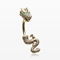 Golden Mythical Ryu Dragon Belly Button Ring