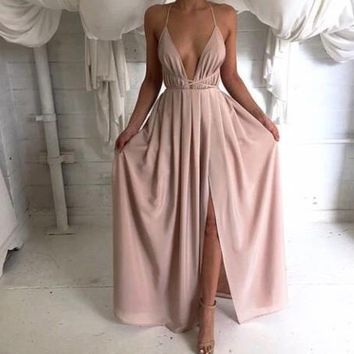 Fashion Deep V-neck Sleeveless Maxi Dress