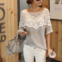 T-shirt with Lace Shoulder
