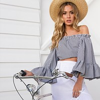 Tartan Off Shoulder Long Sleeve Shirt Pagoda Sleeve Women  Crop Tops