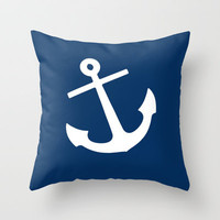 Navy Blue Anchor Throw Pillow by M Studio