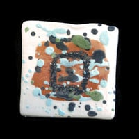Brooch/Pin- Ceramic square brooch- White brooch with colorful spots- Jewelry- Unique hand painted ceramic lapel/hat pin.